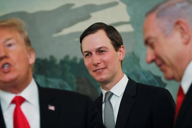 Donald Trump, Jared Kushner y Benjamin Netanyahou en la Casa Blanca, el 25 de marzo de 2019. © Reuters