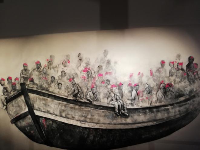 """The Boat (""""les dirigeants du monde réunis dans un bateau de migrants""""), par Abdalla Al Omari (2017)"""