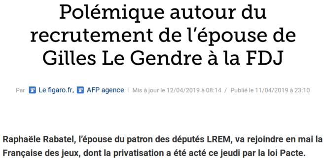 http://www.lefigaro.fr/societes/polemique-autour-du-recrutement-de-l-epouse-de-gilles-le-gendre-a-la-fdj-20190411