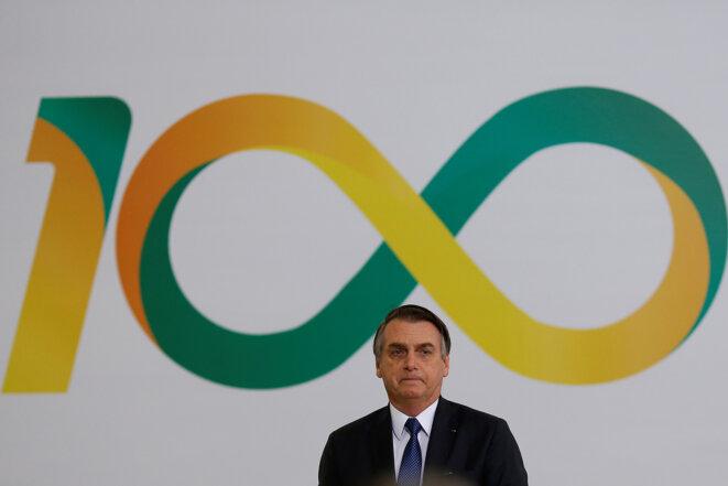 Jair Bolsonaro lors de la cérémonie célébrant ses 100 jours de présidence du Brésil. © Reuters
