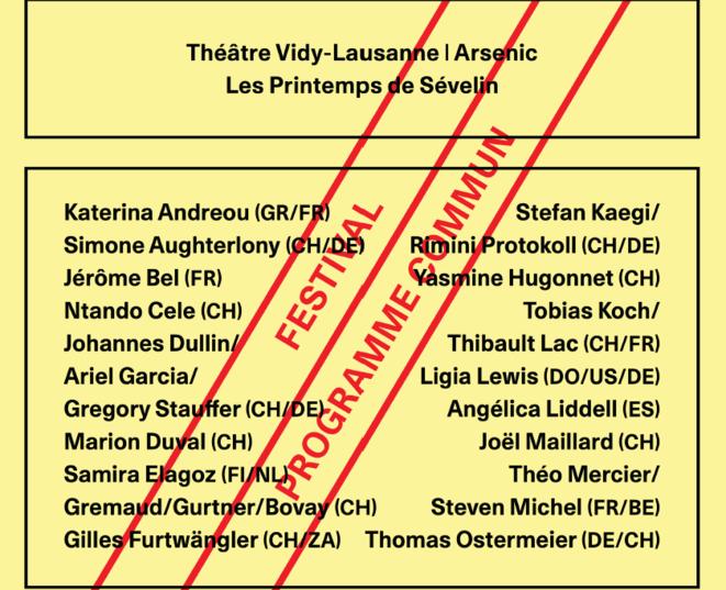 Festival Programme Commun 2019, Théâtre de Vidy, Arsenic, centre d'art scénique contemporain, Les printemps de Sévelin, programmation 2019, Lausanne