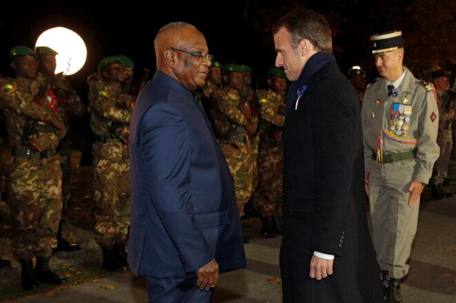 IBK et Emmanuel Macron lors de la commération du centenaire de la Première Guerre mondiale à Reims le 6 novembre 2018. © Reuters