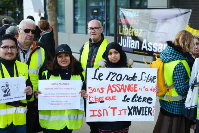 Rassemblement pour Assange, siege du Monde. 13/04/2019. © basicblog
