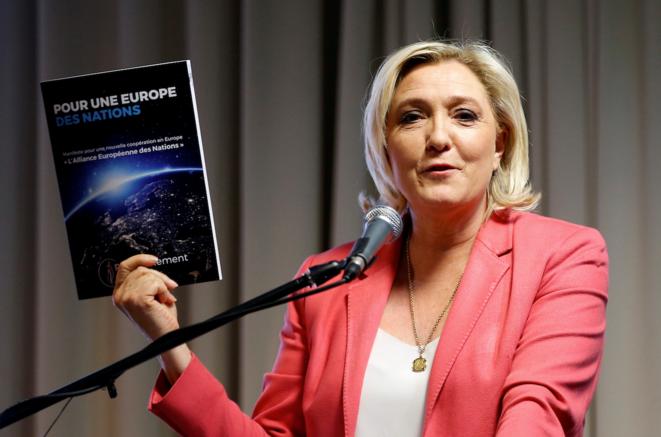 Marine Le Pen à Strasbourg pour la présentation du programme du RN. © Reuters