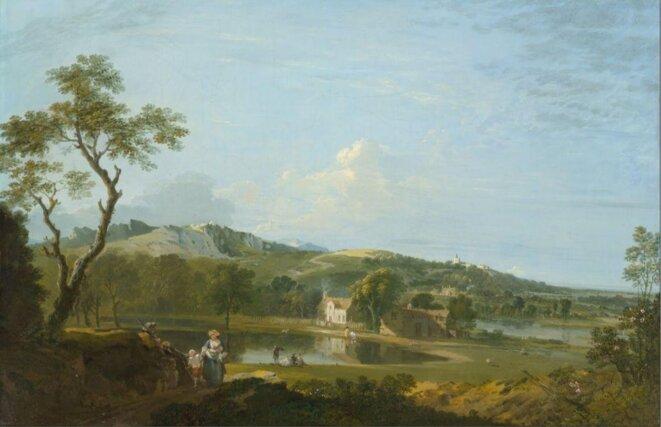 richard-wilson-vaste-paysage-avec-cottages-pres-d-un-lac-1745