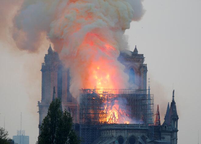 L'incendie de Notre-Dame de Paris le 15 avril 2019 © Reuters / Charles Platiau.