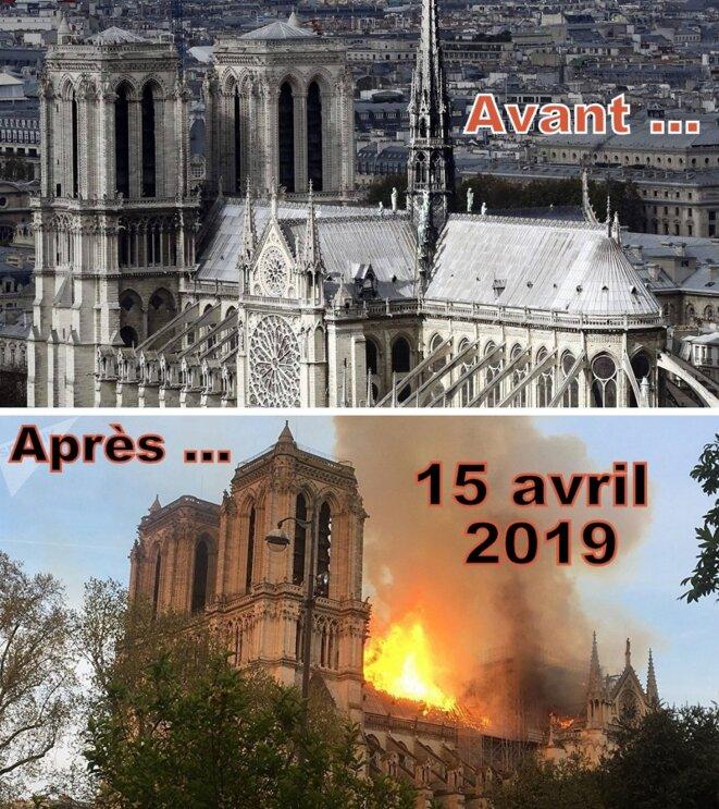 Notre-Dame de Paris avant et après l'incendie © Pierre Reynaud