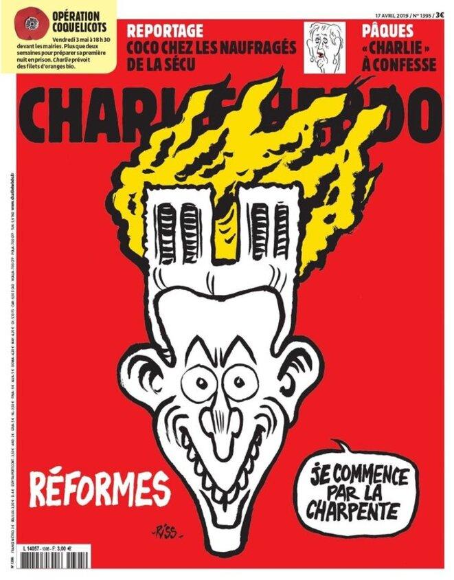La Une de Charlie à venir le 17 avril 2019 © Charlie Hebdo - Riss
