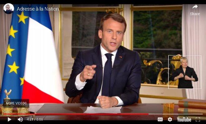 Emmanuel Macron se voulant convaincant. Adresse à la nation, 16 avril 2019.