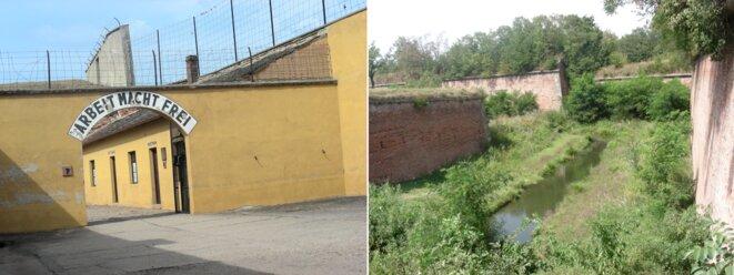 Camp de Theresienstadt près de Prague, et douves de la forteresse où le film de propagande nazie montrait des jardins potagers [Photos YF]