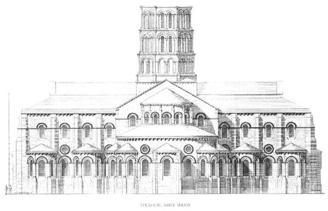 Schéma représentant les chapelles rayonnantes de la basilique Saint-Sernin à Toulouse après la restauration de Viollet-le-Duc.