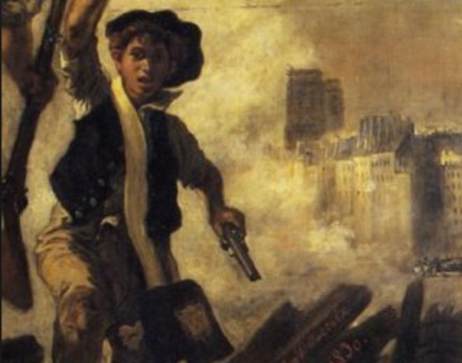 Notre-Dame et le peuple qui se soulève guidé par la Liberté