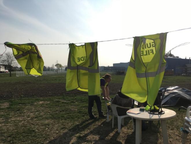 Campement de gilets jaunes dans le Haut-Rhin. © MG
