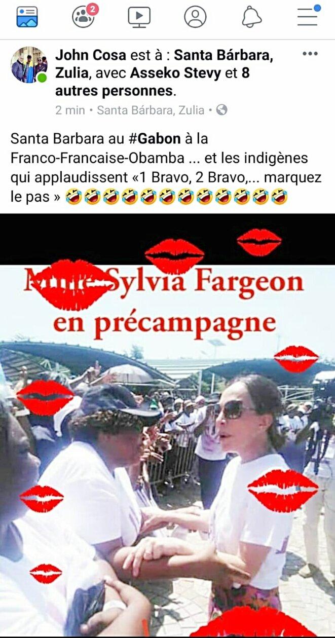 Bain de foule de Sylvia Bongo le 17 avril : image prise sur le compte Facebook d'un activiste gabonais
