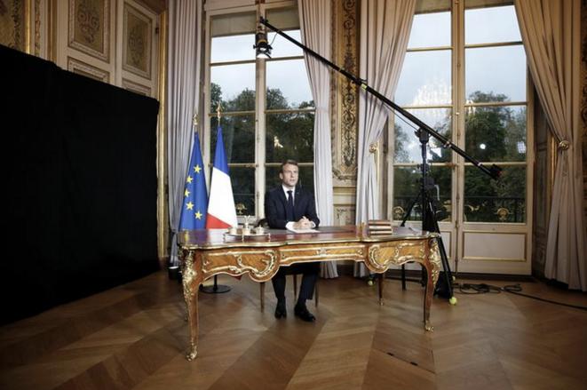 Allocution à l'Élysée, le 16 avril. © Reuters