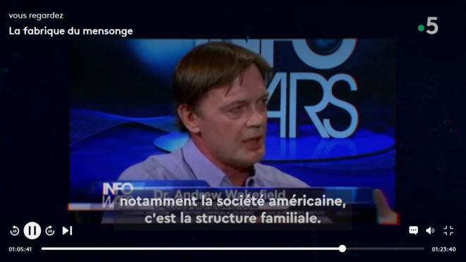 """Andrew Wakefield TV USA © capture d'écran """"La fabrique du mensonge"""""""