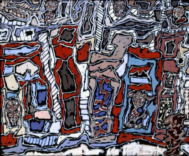 Jean Dubuffet, Paris plaisir, oct. 1962, gouache avec pièces rapportées, collées sur papier, Paris, 67 × 81 cm. Musée des Arts décoratifs, Paris © MAD, Paris - Laurent Sully Jaulmes © Adagp, Paris 2019