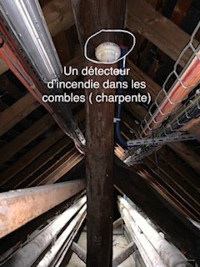 La distribution de la détection incendie dans la partie des combles ( Charpente )