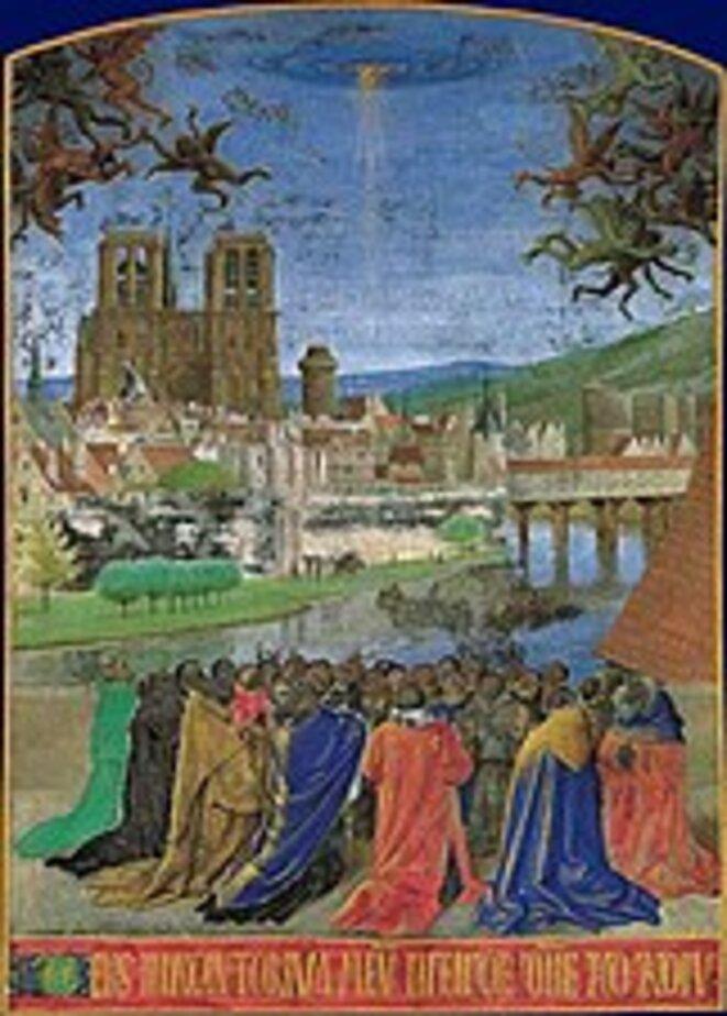 Notre-Dame de Paris: La Main de Dieu protégeant les  fidèles - Heures d'Étienne Chevalier, Enluminure de Jean Fouquet, 15e siècle, The Metropolitan Museum of Art, New York.
