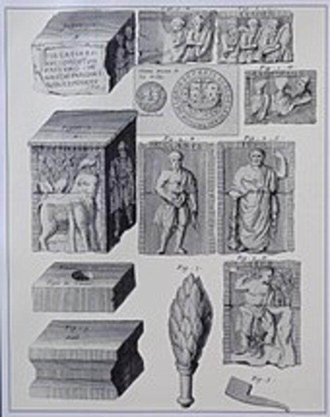 Le Pilier des Nautes, vestiges d'un temple gallo-romain (Ier siècle ap.JC) sur l'île de la Cité à l'emplacement du chœur de ND de Paris. L'Histoire de Paris tome 1, Michel Félibien (1666 - 1719)