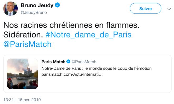 Tweet de Bruno Jeudy le 15/04/2019 (Capture) © @ RM
