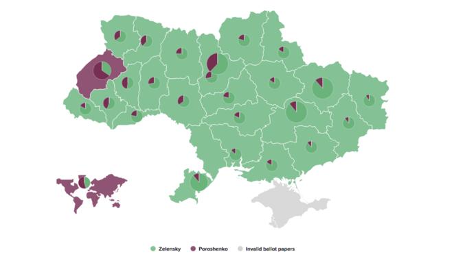 La géographie des résultats. En violet: Porochenko en tête ; Zelenski en tête. © Ukraïnska Pravda