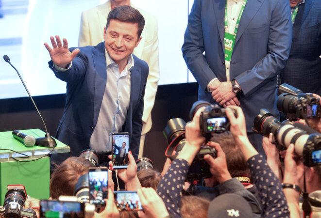 Volodymyr Zelenski à l'annonce des premiers résultats, dimanche 21 avril 2019 © Reuters