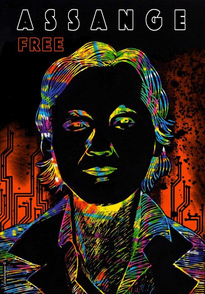 Portrait de Julian Assange par @ Céline Wagner. © Céline Wagner