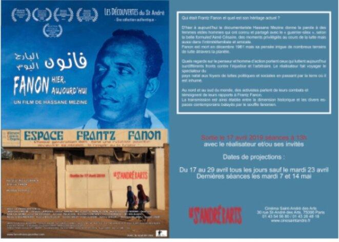 PROJECTION DU FILM : FRANTZ FANON HIER ET AUJOURD'HUI CINÉMA SAINT-ANDRÉ, PARIS 6e, DU 17 AU 29 AVRIL 2019 & DU 7 AU 14 MAI À 13H © EXEQUATUR - E'M.C.