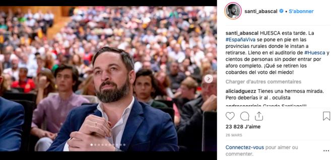 Visuel de campagne, tiré du compte Instagram de Santiago Abascal, lors du meeting de Huesca.