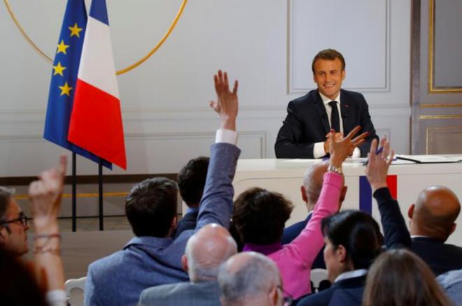 Conférence de presse à l'Élysée, le 25 avril. © Reuters