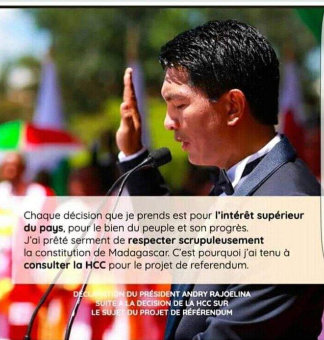 A. Rajoelina devant l'irrécusable perd sa lucidité et n'hésite pas à tenir responsable de la bonne marche de l'IEM, les hauts conseillers. C'est de la provocation.