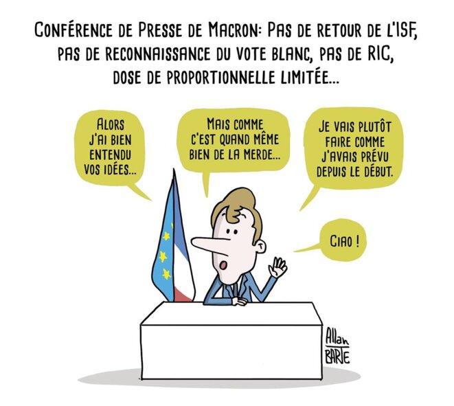 Conférence de presse de Macron (source FB) © allan Barte