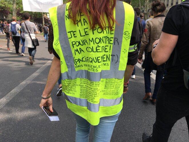 Élodie, gilet jaune de Tours, le 1er mai 2019 à Paris. © MG