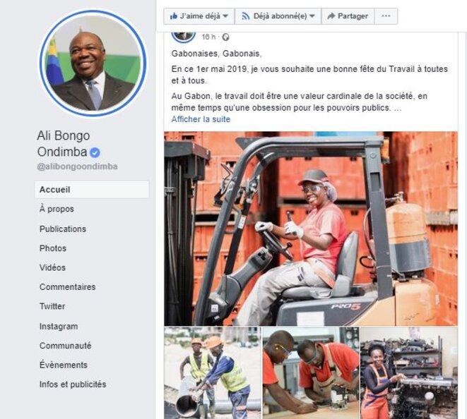 1er mai 2019 -Page Facebook officiel du Président Gabonais - ALI BONGO ONDIMBA.