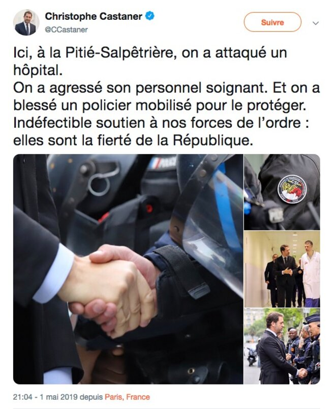 Tweet de Christophe Castaner, le 1er Mai.