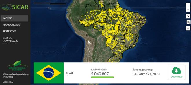 Plateforme en ligne de consultation publique du Système de Cadastre Environnemental (SICAR). Disponible à l'adresse : http://www.car.gov.br/publico/imoveis/index Consulté le 02 mai 2019.