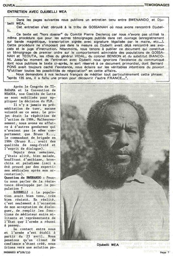 Djubelly Wea répondant à un entretien avec le journal militant kanak Bwenando après le massacre d'Ouvéa.