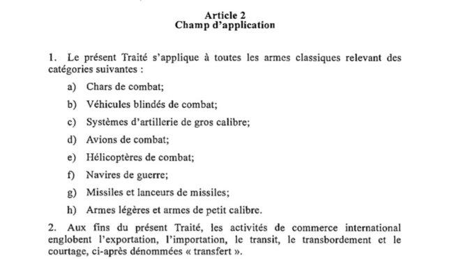 Les armes prévues par le protocole du Traité sur le Commerce des Armes. Le non-respect d'un Traité multinationales Universel est passible de poursuite pénale et judiciaire par la haute juridiction du système onusien.