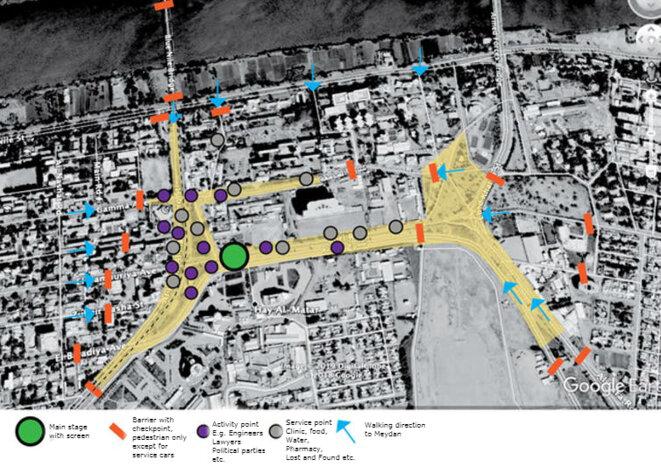 Schéma de l'espace occupé d'Al-Qyada, avec légende en anglais. On y voit la scène principale avec écran géant (le point vert), les barricades (en orange), et l'espace occupé (en jaune), c'est-à-dire l'esplanade et les avenues autour. / Mohamed Abd Abdelhamied Bakhit