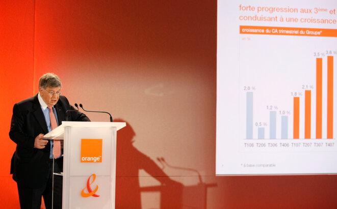 L'ancien PDG de France Télécom, Didier Lombard, lors de la présentation des résultats du groupe en février 2008. © Reuters