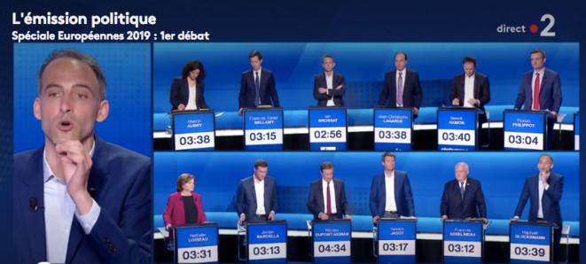 Premier débat télévisé de la campagne des européennes, le 4 avril 2019. © DR / Capture d'écran