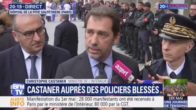 Christophe Castaner à la Pitié-Salpétrière, mercredi 1er mai 2019. (Capture d'écran) © RM