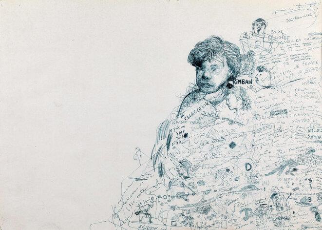 Stéphane Mandelbaum, Arthur Rimbaud, dessin, 1980, © Collection Arieh Mandelbaum, Bruxelles / Stéphane Mandelbaum / Centre Pompidou, MNAM-CCI/Philippe Migeat/ Dits. RMN-GP
