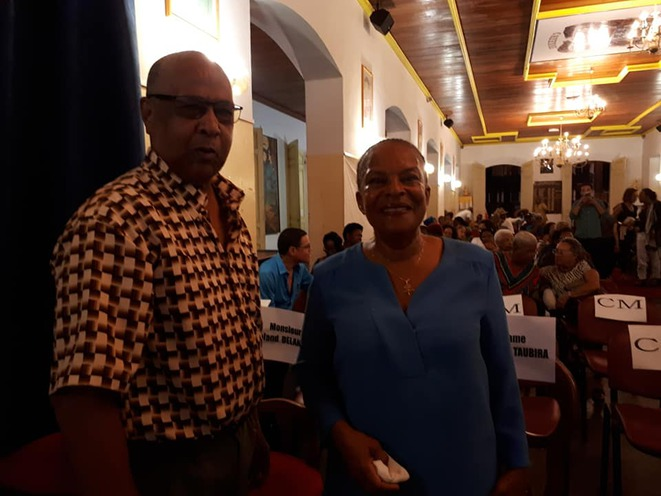 M.Roland Delannon et Mme Christiane Taubira. Cayenne. 07.05.2019.