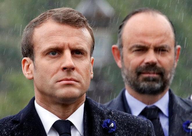 Emmanuel Macron et Édouard Philippe le 8 mai 2019. © Reuters