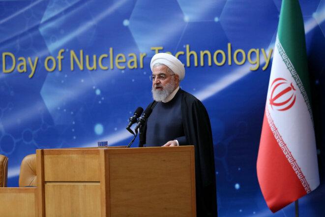 Le président iranien Hassan Rohani lors de la journée de l'énergie atomique à Téhéran début avril 2019 © Reuters
