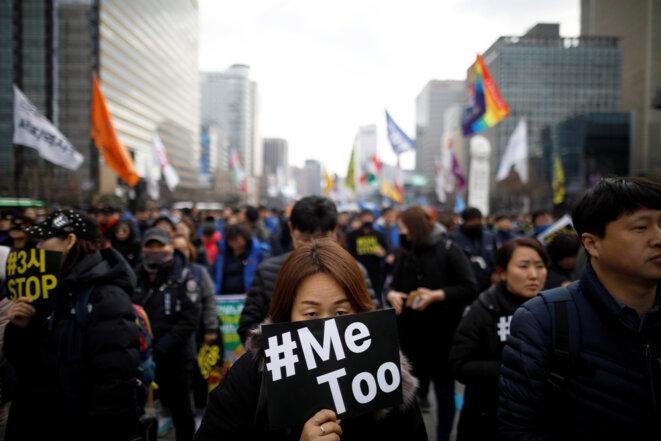 Manifestation féministe à Séoul, le 8 mars 2018. © Reuters