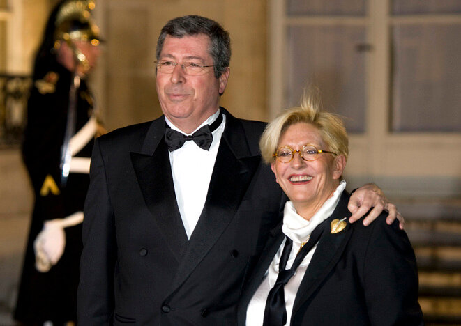 Patrick and Isabelle Balkany at the Élysée, March 11th 2008. © Reuters