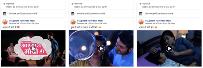 Echantillon de publicités dans la bibliothèque Facebook.